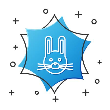 White line Easter rabbit icon isolated on white background. Easter Bunny. Blue hexagon button. Vector Illustration Stock Illustratie