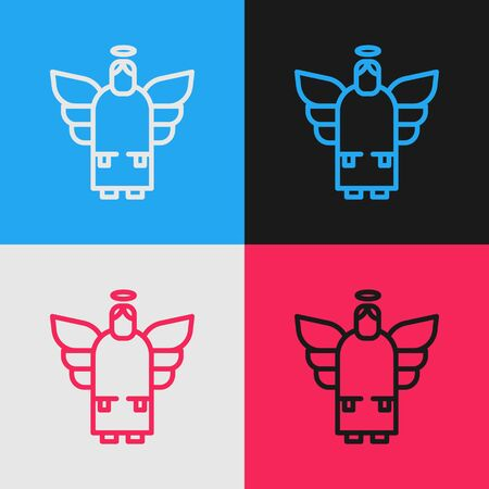 Pop art line Christmas angel icon isolated on color background. Vector