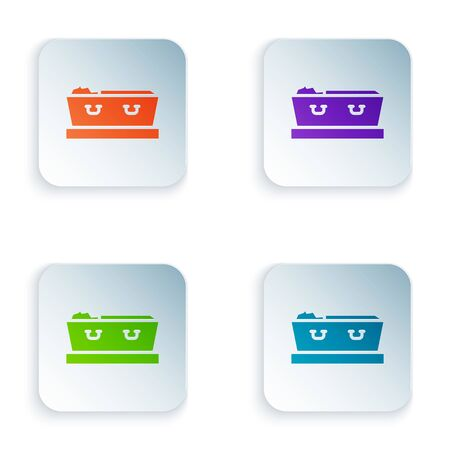 Color Open coffin with dead deceased body icon isolated on white background. Funeral after death. Corpse in an open hearse for burial. Set colorful icons in square buttons. Vector