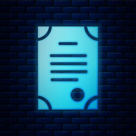 Glowing neon Death certificate icon isolated on brick wall background. Vector