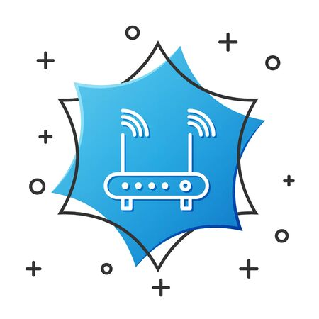 White line Router and wifi signal symbol icon isolated on white background. Wireless  modem router. Computer technology internet. Blue hexagon button. Vector Illustration