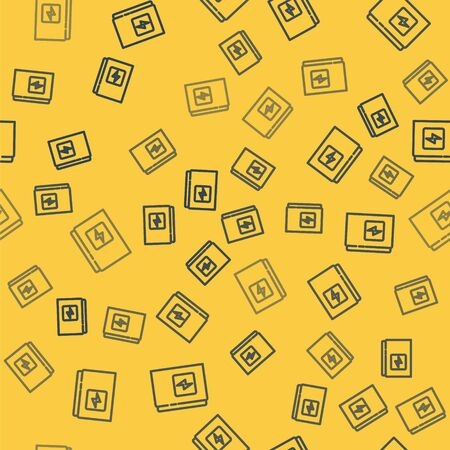 Blue line Electrical panel icon isolated seamless pattern on yellow background. Vector