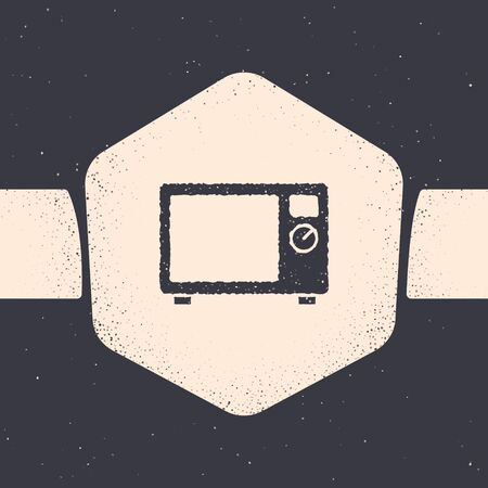 Grunge Microwave oven icon isolated on grey background. Home appliances icon. Monochrome vintage drawing. Vector.