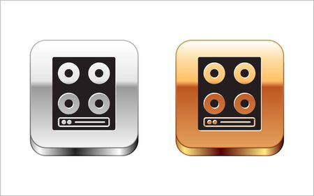Black Gas stove icon isolated on white background. Cooktop sign. Hob with four circle burners. Silver-gold square button. Vector. 向量圖像