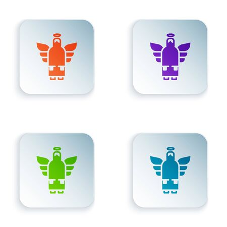 Color Christmas angel icon isolated on white background. Set colorful icons in square buttons. Vector