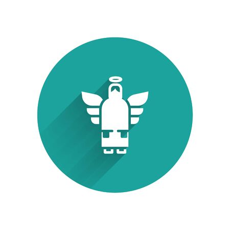 White Christmas angel icon isolated with long shadow. Green circle button. Vector