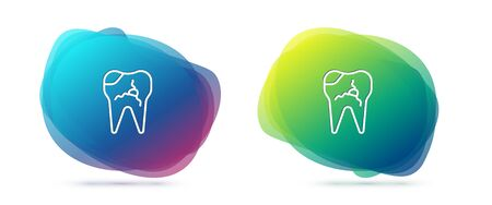 Set line Broken tooth icon isolated on white background. Dental problem icon. Dental care symbol. Abstract banner with liquid shapes. Vector Illustration Vettoriali