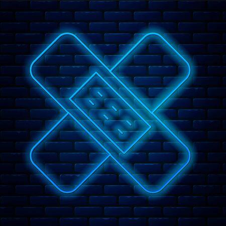 Glowing neon line Crossed bandage plaster icon isolated on brick wall background. Medical plaster, adhesive bandage, flexible fabric bandage. Vector Illustration