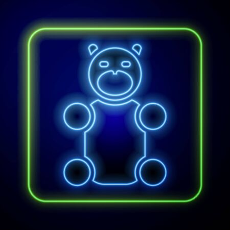 Glowing neon Jelly bear candy icon isolated on blue background. Vector.