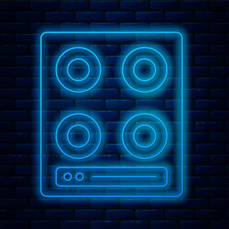 Glowing neon line Gas stove icon isolated on brick wall background. Cooktop sign. Hob with four circle burners. Vector