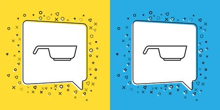 Set line Frying pan icon isolated on yellow and blue background. Fry or roast food symbol. Vector 向量圖像