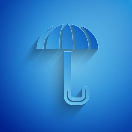 Paper cut Classic elegant opened umbrella icon isolated on blue background. Rain protection symbol. Paper art style. Vector