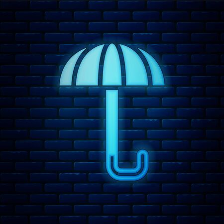 Glowing neon Classic elegant opened umbrella icon isolated on brick wall background. Rain protection symbol. Vector