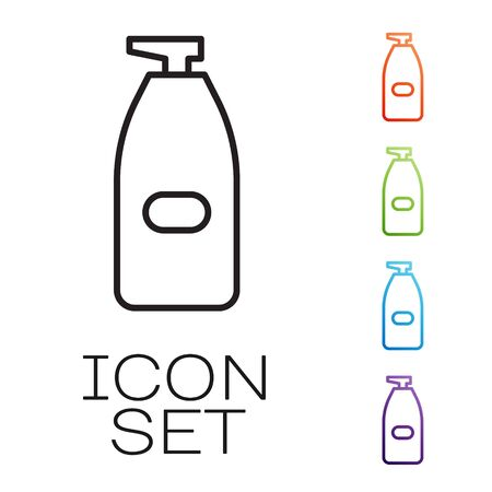Black line Bottle of liquid antibacterial soap with dispenser icon isolated on white background. Antiseptic. Disinfection, hygiene, skin care. Set icons colorful. Vector Illustration