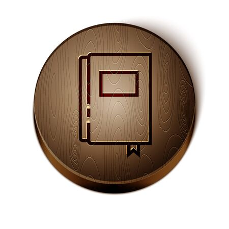 Brown line Book icon isolated on white background. Wooden circle button. Vector 일러스트