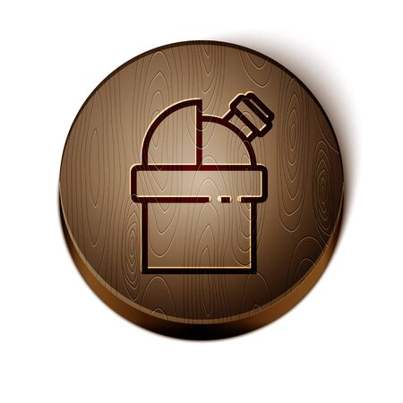 Brown line Astronomical observatory icon isolated on white background. Observatory with a telescope. Scientific institution. Wooden circle button. Vector