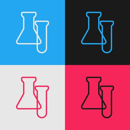 Pop art line Test tube and flask icon isolated on color background. Chemical laboratory test. Laboratory glassware. Vector Banco de Imagens - 150216001