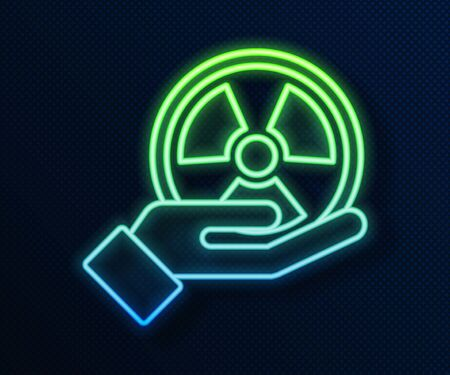 Glowing neon line Radioactive in hand icon isolated on blue background. Radioactive toxic symbol. Radiation Hazard sign. Vector