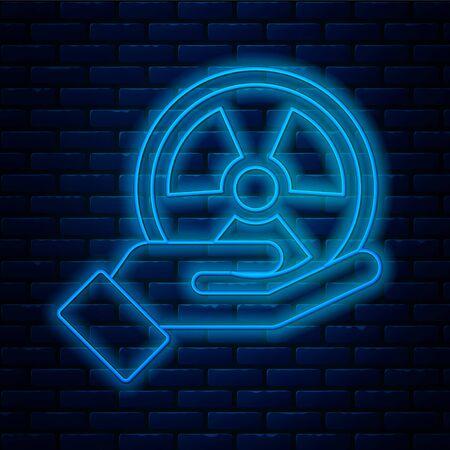 Glowing neon line Radioactive in hand icon isolated on brick wall background. Radioactive toxic symbol. Radiation Hazard sign. Vector Standard-Bild - 150216003