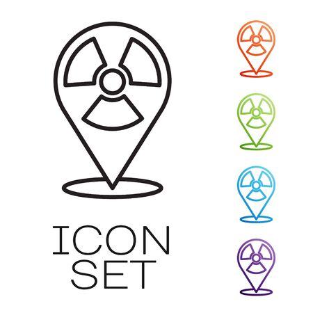 Black line Radioactive in location icon isolated on white background. Radioactive toxic symbol. Radiation Hazard sign. Set icons colorful. Vector
