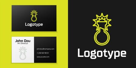 Logotype line Test tube and flask icon isolated on black background. Chemical laboratory test. Laboratory glassware. Logo design template element. Vector