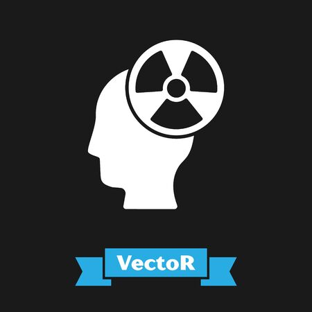 White Silhouette of a human head and a radiation symbol icon isolated on black background. Vector