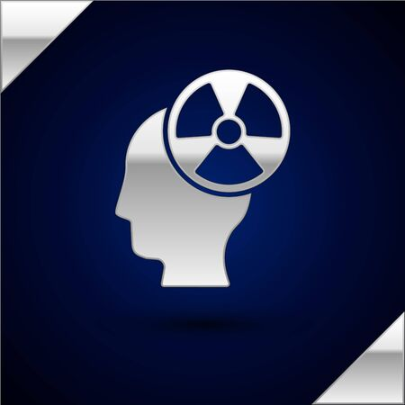 Silver Silhouette of a human head and a radiation symbol icon isolated on dark blue background. Vector