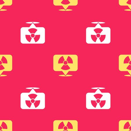 Yellow Radioactive in location icon isolated seamless pattern on red background. Radioactive toxic symbol. Radiation Hazard sign. Vector