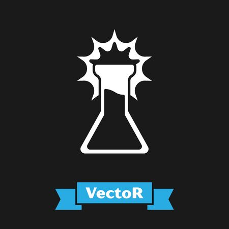 White Test tube and flask icon isolated on black background. Chemical laboratory test. Laboratory glassware. Vector Banco de Imagens - 150216088