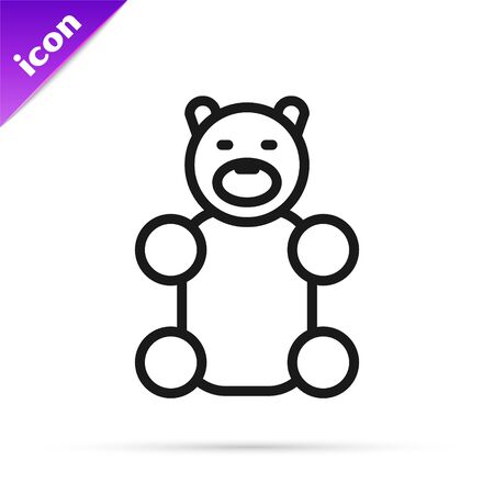 Black line Jelly bear candy icon isolated on white background. Vector Illustration
