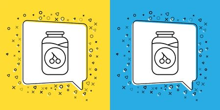 Set line Cherry jam jar icon isolated on yellow and blue background. Vector