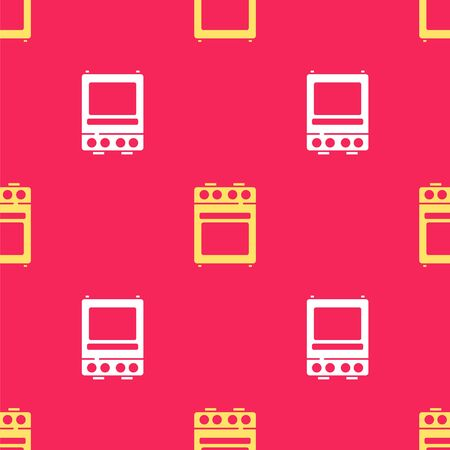 Yellow Oven icon isolated seamless pattern on red background. Stove gas oven sign. Vector.