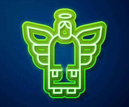 Glowing neon line Christmas angel icon isolated on blue background. Vector