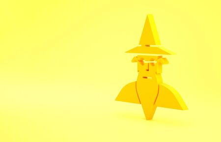 Yellow Wizard warlock icon isolated on yellow background. Minimalism concept. 3d illustration 3D render