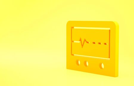 Yellow Beat dead in monitor icon isolated on yellow background. ECG showing death. Minimalism concept. 3d illustration 3D render