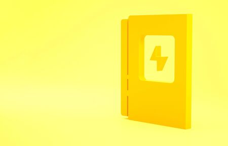 Yellow Electrical panel icon isolated on yellow background. Minimalism concept. 3d illustration 3D render