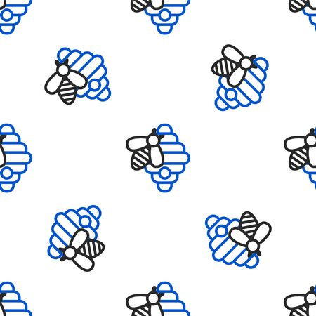Line Hive for bees icon isolated seamless pattern on white background. Beehive symbol. Apiary and beekeeping. Sweet natural food. Colorful outline concept. Vector.