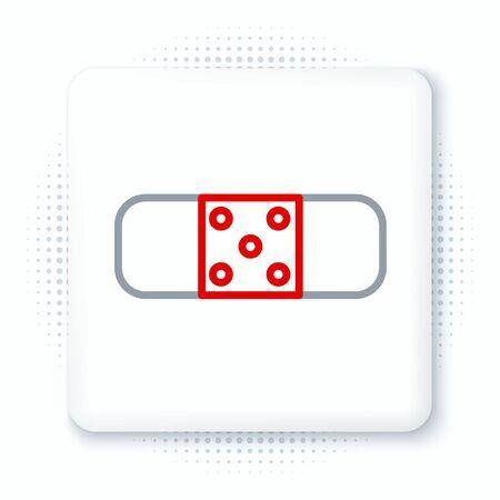 Line Bandage plaster icon isolated on white background. Medical plaster, adhesive bandage, flexible fabric bandage. Colorful outline concept. Vector. Ilustração