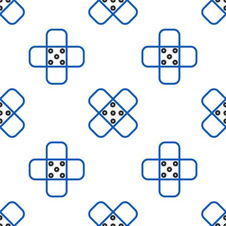 Line Crossed bandage plaster icon isolated seamless pattern on white background. Medical plaster, adhesive bandage, flexible fabric bandage. Colorful outline concept. Vector. Ilustração