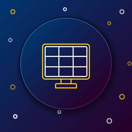 Line Solar energy panel icon isolated on blue background. Colorful outline concept. Vector.