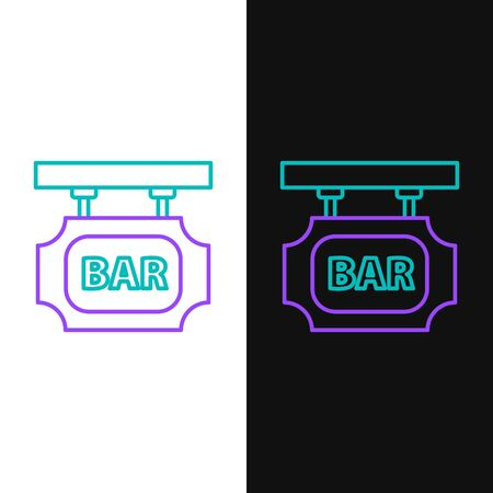 Line Street signboard with inscription Bar icon isolated on white and black background. Suitable for advertisements bar, cafe, pub, restaurant. Colorful outline concept. Vector.