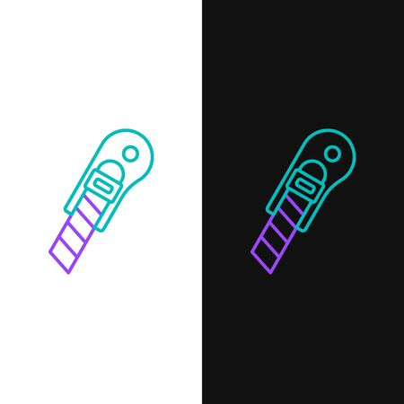 Line Stationery knife icon isolated on white and black background. Office paper cutter. Colorful outline concept. Vector.