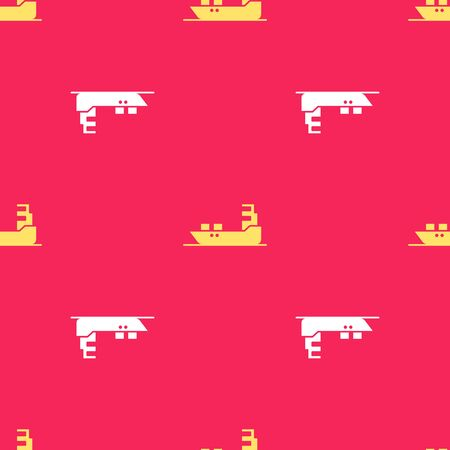 Yellow Oil tanker ship icon isolated seamless pattern on red background. Vector Illustration