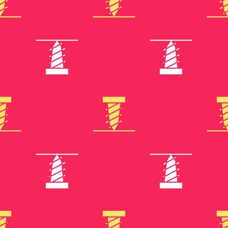 Yellow Rotating drill digging a hole in a ground icon isolated seamless pattern on red background. Vector Illustration  イラスト・ベクター素材