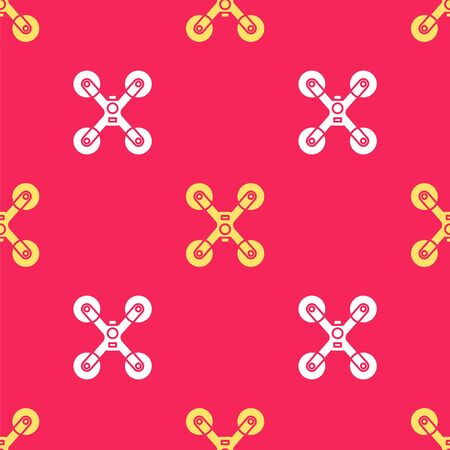 Yellow Drone flying icon isolated seamless pattern on red background. Quadrocopter with video and photo camera symbol. Vector Illustration Ilustração
