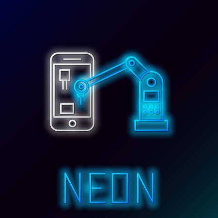 Glowing neon line Industrial machine robotic robot arm hand on mobile phone factory icon isolated on black background. Industrial robot manipulator. Colorful outline concept. Vector. Vektorové ilustrace
