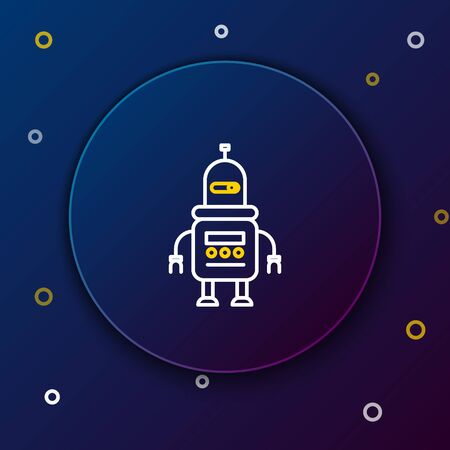 Line Robot icon isolated on blue background. Colorful outline concept. Vector.