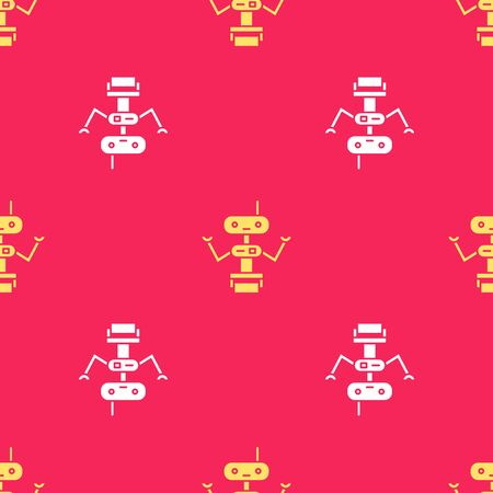 Yellow Robot icon isolated seamless pattern on red background. Vector Illustration Illustration