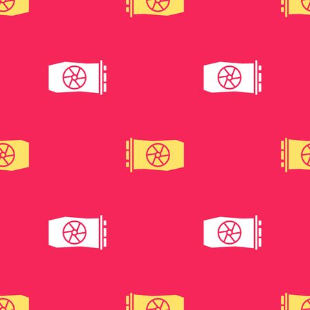 Yellow Video graphic card icon isolated seamless pattern on red background. Vector Illustration Stock Illustratie
