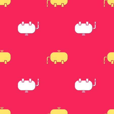 Yellow Oil and gas industrial factory building icon isolated seamless pattern on red background. Vector Illustration